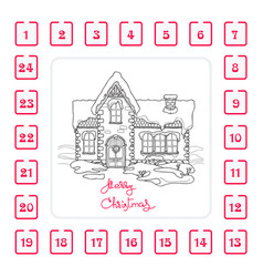 christmas advent calendar with house and vector image
