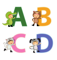 english alphabet with kids in animal costume a-d vector image