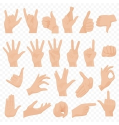 Realistic human hands icons and symbols set Emoji vector image