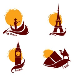 Set of images - country and tourism vector image vector image
