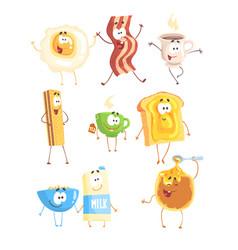 funny fast food set for label design breakfast vector image