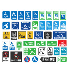 handicap labels and signs disabled people icons vector image vector image