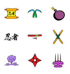 Japanese ninja icons set cartoon style vector
