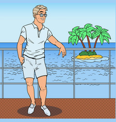 pop art handsome man standing on private yacht vector image