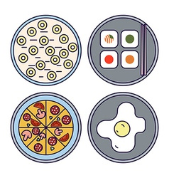Thin Line Flat Design Food Icons vector image