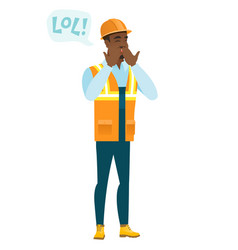 young african-american builder laughing out loud vector image