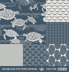 Abstract ocean backgrounds set sea and beach vector image