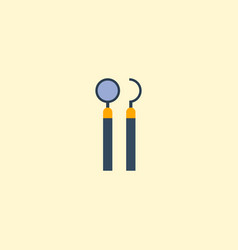 flat icon mirror with probe element vector image
