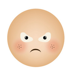 human face emoticon furious expression vector image