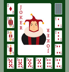 Poker set with isolated cards casino gambling deck vector