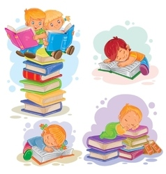 Set icons of small children reading a book vector image