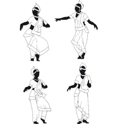Silhouette of indian dance vector