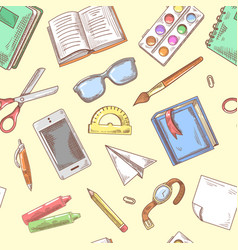 back to school background education hand drawn vector image vector image