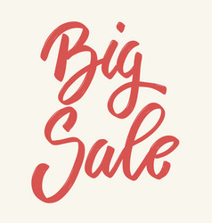 big sale hand drawn lettering phrase isolated on vector image