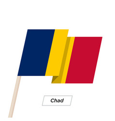 chad ribbon waving flag isolated on white vector image vector image