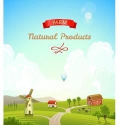 Farm rural landscape Farm background vector image