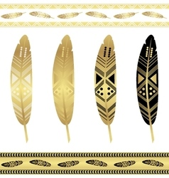 Gold flash tattoo ethnic seamless patterns vector image vector image