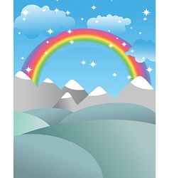Mgic landscape with rainbow Fields and meadows vector image