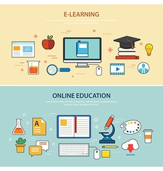 online education and e-learning banner flat design vector image vector image