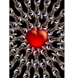 Red heart with bottles of wine vector image