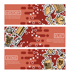 set of horizontal banners about history vector image vector image