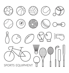 Sports Equipment Line Icons Set vector image
