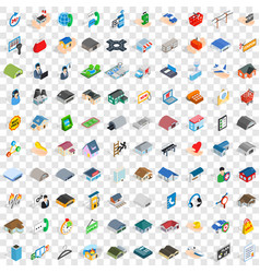 100 hangar icons set isometric 3d style vector