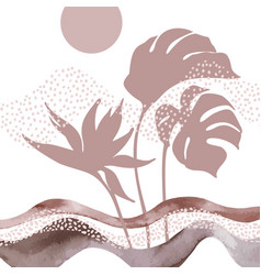 abstract landscape with monstera leaves exotic vector image