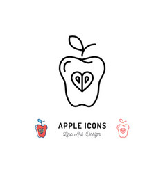 apple icon fruit concept logo healthy eating vector image