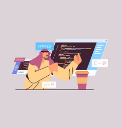Arab programmer writing code for computer app vector