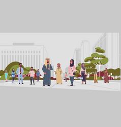Arabic people walking outdoor arab businesspeople vector