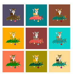 Assembly flat christmas tree cat vector