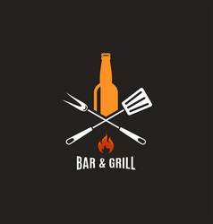 beer bottle with grill tools bar and grill logo vector image