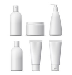 Blank cosmetic package set vector