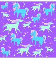 Blue and green unicorns on a violet background vector image
