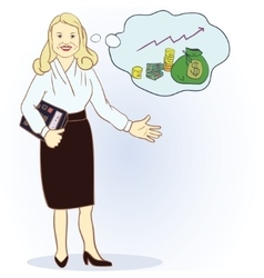 Business woman with a calculator and a full bag of vector image