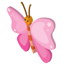 Butterfly with pink wings vector
