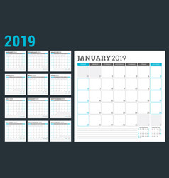 Calendar planner for 2019 year week starts on vector