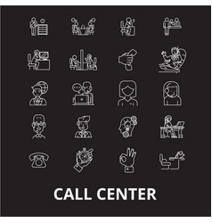call center editable line icons set on vector image