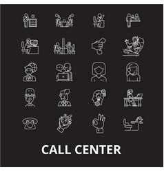 call center editable line icons set on vector image