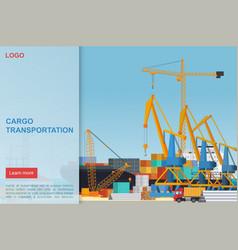 cargo transportation flat landing page vector image