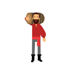 Cartoon bearded pirate man character in classic vector