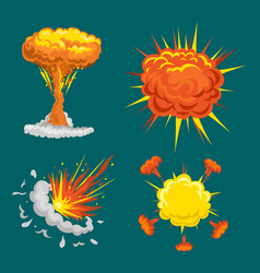 cartoon explosion boom effect animation game vector image
