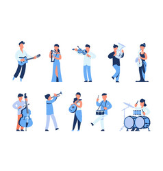 Cartoon musicians men and women playing musical vector