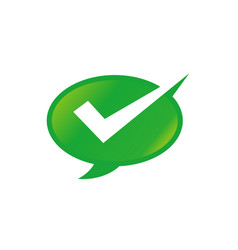 checkmark and bubble speech icon logo design vector image
