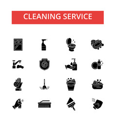Cleaning service thin line icons vector