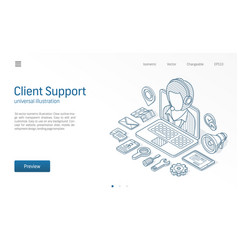 Client customer support center contact us vector