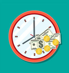 Clock dollar banknotes and golden coins vector