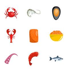 Coastal life icons set cartoon style vector