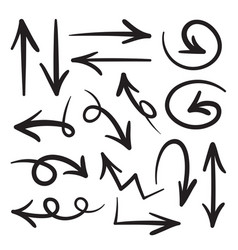 collection hand drawn doodle style arrows vector image